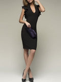 Deep V-Neck  Plain Bodycon Dress black s