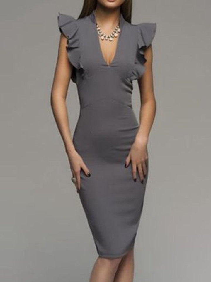 Deep V-Neck  Plain Bodycon Dress gray m