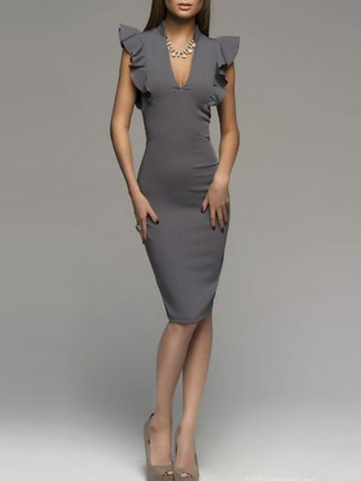 Deep V-Neck  Plain Bodycon Dress gray l