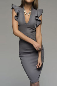 Deep V-Neck  Plain Bodycon Dress gray s
