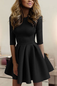 Casual  Elegant Pure Color Half Sleeves Mini Dress black s