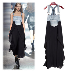 Fashionable Chiffon Skirt Loose Denim Dress black 2xl