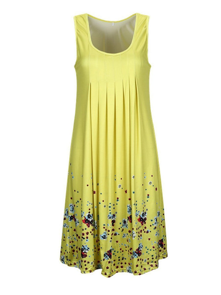 Scoop Neck  Floral Printed Shift Dress Yellow l