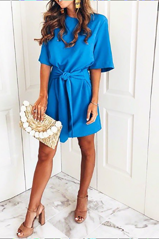 Elegant Blue Bandage Mini Dress blue s
