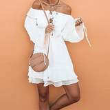 Off-The-Shoulder Chiffon Bohemian Vacation Dress white xl