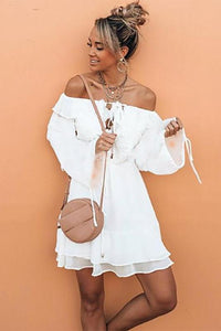 Off-The-Shoulder Chiffon Bohemian Vacation Dress white 3xl