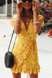 Casual Floral Print Vacation Mini Dress yellow s