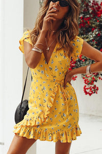 Casual Floral Print Vacation Mini Dress yellow xl