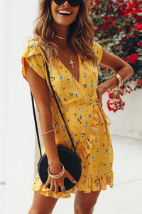 Casual Floral Print Vacation Mini Dress yellow l