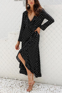 Sexy Fashion Long Sleeves Vacation Maxi Dress black m