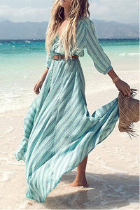 Floral Print Half Sleeves Vacation Maxi Dress same_as_photo xl