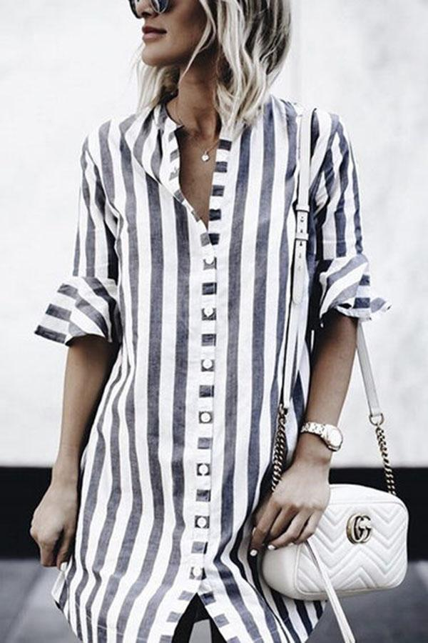 Sexy Fashion Short Sleeves Striped T-Shirts white s