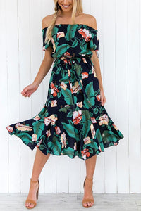 Sexy Floral Print Off Shoulder Vacation Maxi Dress green s