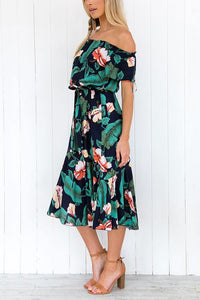 Sexy Floral Print Off Shoulder Vacation Maxi Dress green xl