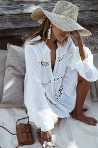Shirt Type Trumpet Sleeve Beach Blouse Sun Protection Dress white one size