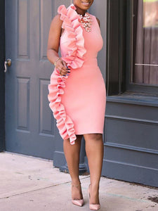 Crew Neck  Plain Bodycon Dress pink xl