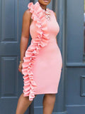 Crew Neck  Plain Bodycon Dress pink l