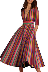 Multicolor Sexy Deep V-Neck Maxi Skater Dress multi 2xl