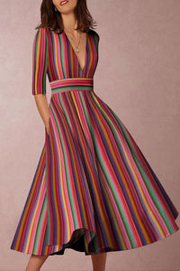 Multicolor Sexy Deep V-Neck Maxi Skater Dress multi s