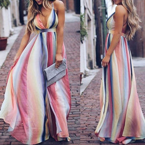 Color Deep V High Waist Maxi Dress same as photo m