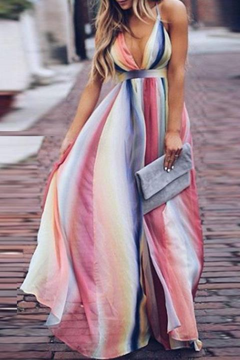 Color Deep V High Waist Maxi Dress same as photo s