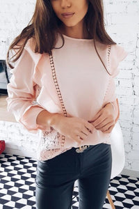 Stylish Splicing Chiffon T-Shirts Blouses pink s