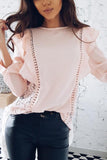 Stylish Splicing Chiffon T-Shirts Blouses pink m