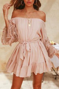 Sexy Fashion Pink Lace Off Shoulder Mini Dress pink s
