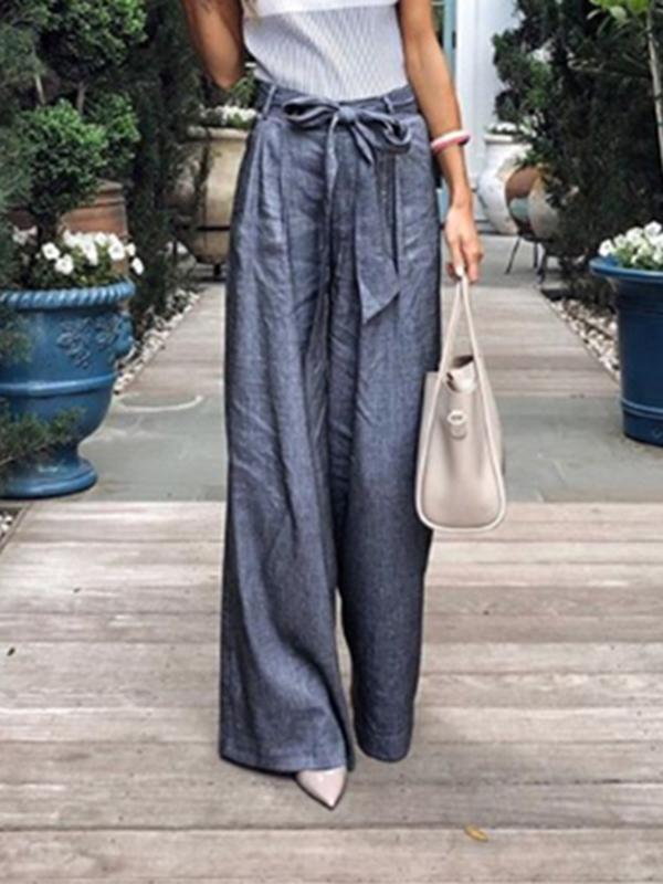 Solid Color Tie Wide Leg Pants dark_blue m