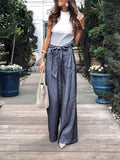 Solid Color Tie Wide Leg Pants dark_blue xl