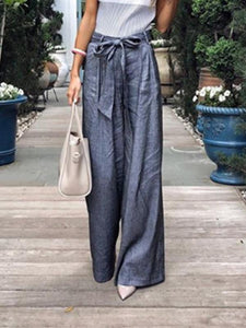 Solid Color Tie Wide Leg Pants dark_blue l