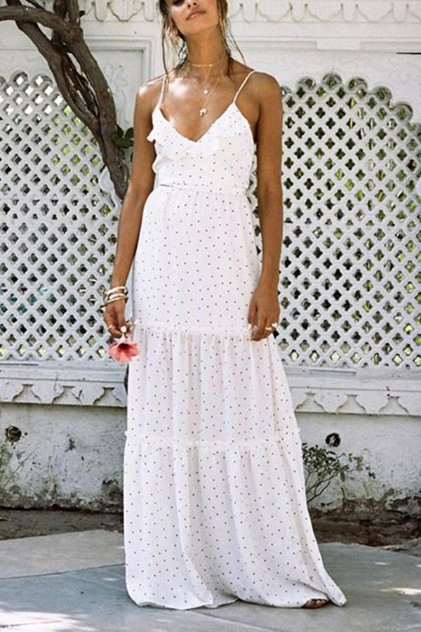 White Sexy Sleeveless Vacation Maxi Dress white l