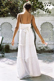 White Sexy Sleeveless Vacation Maxi Dress white m