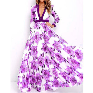 Deep V Collar Retro Printed Expansion Vacation Maxi Dress