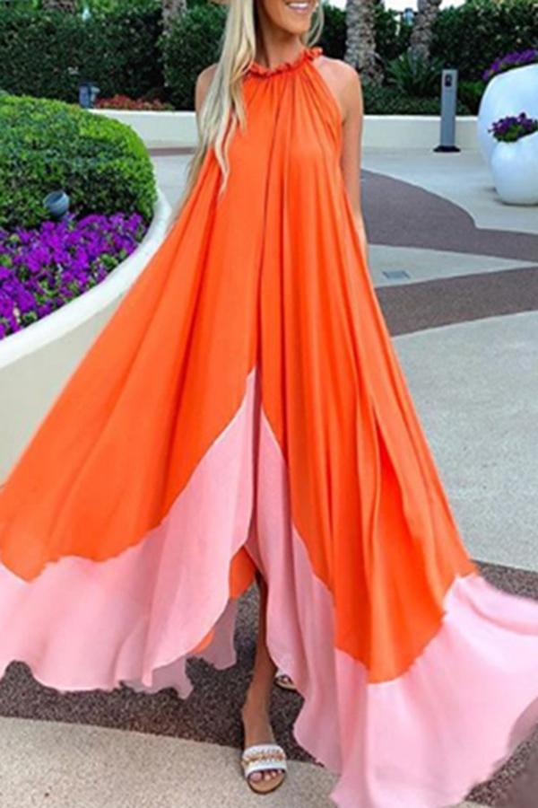 Sleeveless Round Neck Chiffon Beach Maxi Dress orange s