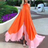 Sleeveless Round Neck Chiffon Beach Maxi Dress orange m