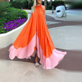 Sleeveless Round Neck Chiffon Beach Maxi Dress orange l