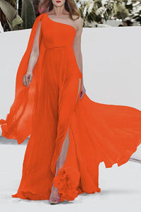 One Shoulder Chiffon Beach Dress For Vacation orange s