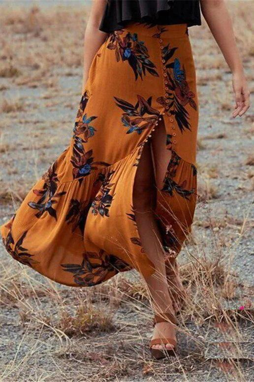 Fashion Floral Printed Slit Beach Maxi Skirt yellow l