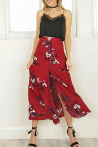 Fashion Floral Printed Slit Beach Maxi Skirt red l