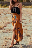 Fashion Floral Printed Slit Beach Maxi Skirt red s