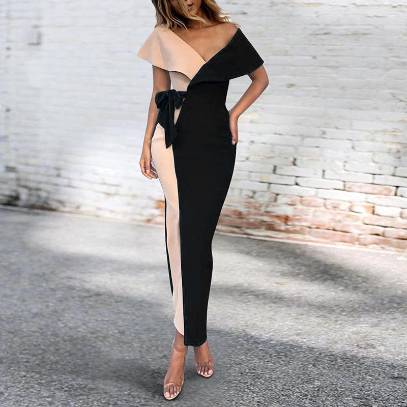 Sexy V-Neck Stitched Fashion Bodycon Dress black 2xl