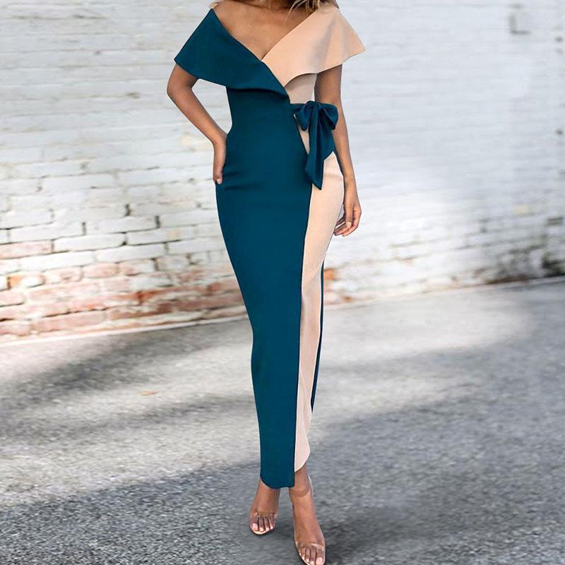 Sexy V-Neck Stitched Fashion Bodycon Dress blue xl