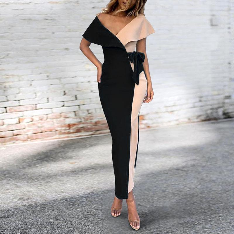 Sexy V-Neck Stitched Fashion Bodycon Dress black m