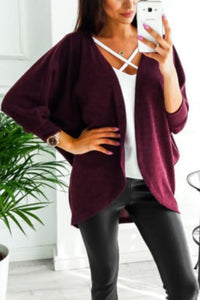 Asymmetric Neck  Snap Front  Plain Cardigans date_red m