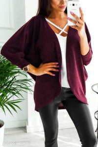 Asymmetric Neck  Snap Front  Plain Cardigans gray xl