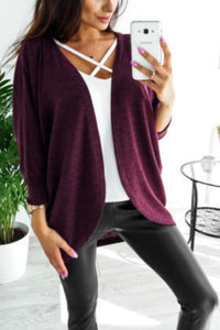 Asymmetric Neck  Snap Front  Plain Cardigans date_red l