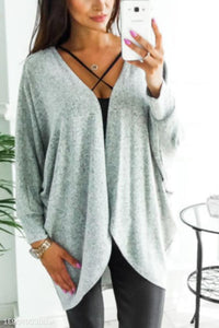Asymmetric Neck  Snap Front  Plain Cardigans gray m