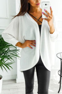 Asymmetric Neck  Snap Front  Plain Cardigans white l