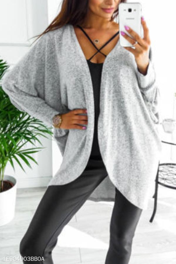Asymmetric Neck  Snap Front  Plain Cardigans white 2xl